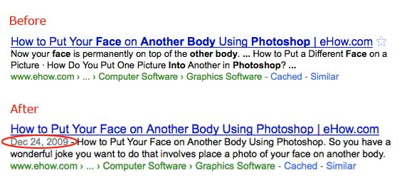 Before and after search results