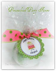 Birthday Party Favor Bath Bomb (AbbeyJames) Tags: birthday pink girls party hot green cake night out bath heart polka dot teen gift ribbon lime tween custom bomb favor spa personalized