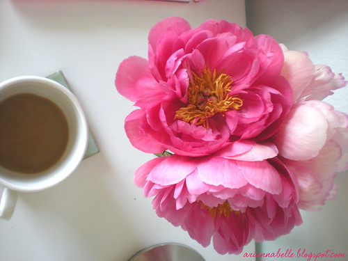 peonies+coffee
