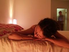With Husband (Janeczka Dabrowski) Tags: light selfportrait bathroom bed autoportrait husband mari lumiere reflective lit salledebain reflechir