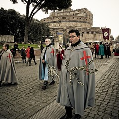 Red Crosses (Andrea_b.) Tags: street red people rome crosses procession pilgrims overtheshot alwaysexc