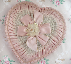 Vintage Valentine Candy Box (such pretty things) Tags: pink flowers wallpaper holiday rose vintage ruffles candy heart box lace chocolate pastel valentine 1940s collections satin trim valentinesday pleats millinery shabbychic