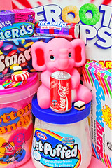 Trunk Food (boopsie.daisy) Tags: pink elephant color cute colors tooth toy rainbow colorful candy sweet kitsch nerds cotton marshmallow trunk sweets junkfood cottoncandy sweethearts squeaker floss fruitloops squeaky jetpuff