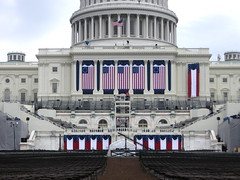 The Inaugural Stage is Set! (Kurlylox1) Tags: america washingtondc unitedstates stage flags presidential seats americanflags banners excitement inauguration preparations barackobama 44thpresident
