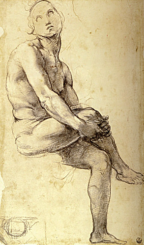 1509  Raphael    Study for Adam  Black and white chalk  35,7x21 cm  Fmdu