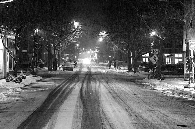Snowy Night - Nyack, NY by seanjonesfoto