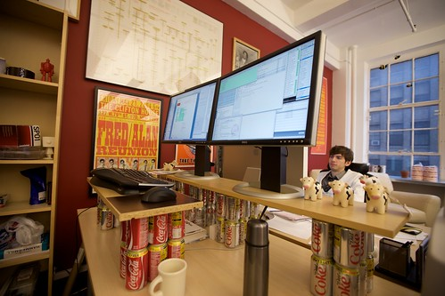 The Coke-can standing desk on its last day