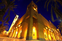 Mosque In Diriyah (CristalArt) Tags: old blue trees white green colors yellow architecture night digital photoshop canon lens photography lights shot angle wide super mosque palm east middle riyadh 1022mm hdr cultural ksa diriyah blueribbonphotography theunforgettablepictures