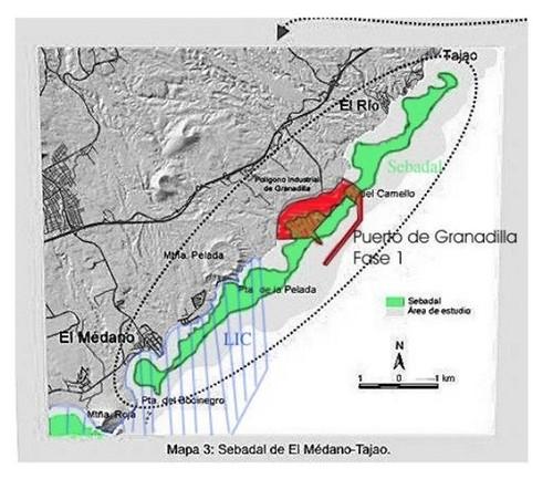 """El impacto del Puerto sobre los sebadales. Mapa del documento: """"Consideraciones..."""""""