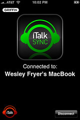 iTalk Sync: iPhone connected to a computer