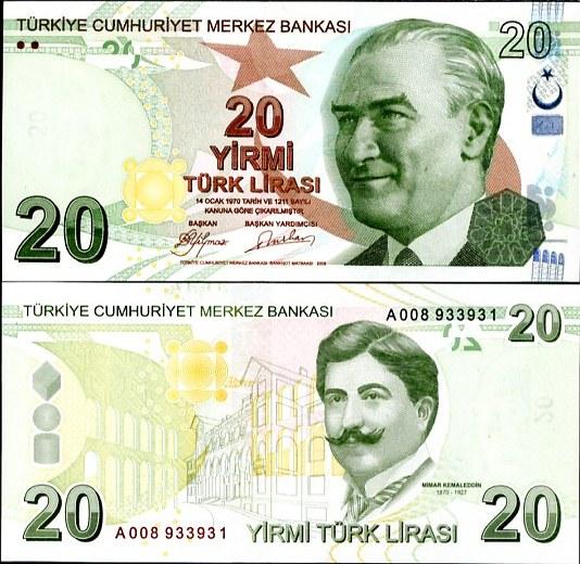 TURKEY 20 LIRA TL 1.1.2009