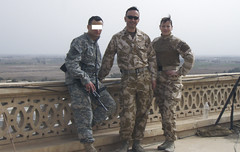 With British Troops on the top of Saddam's Palace (Mszczuj) Tags: uk woman house trooper building english girl architecture female easter soldier army war united iraq kingdom palace chick arabic east arab crib terror british february saddam brit iraqi troop deployment hussain
