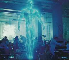 Dr. Manhattan shows a lot of his cock in the movie