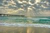 Sunbeams during Sunrise at Dania Beach Pier (asawaa) Tags: morning sea sky beach nature topf25 topc25 topv111 clouds sunrise pier seaside sand topf50 topv555 topv333 surf waves florida shore cumulus sunrays seashore sunbeams crepuscularrays southflorida jacobsladder daniabeach jesusbeams fingersofgod explored southfloridasky daniabeachpier