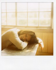 shhh... (mika-rin) Tags: girl polaroid sx70 spring friend lotta beautifulday 600film