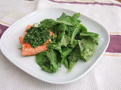 Salmon with Basil Mint Sauce with Mixed Greens with Lemon Anchovy Parsley Dressing