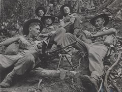 Australian soldiers from the 2/1 Infantry Battalion at Kokoda during World War II. Front left, Norman Carter. (UON Library,University of Newcastle, Australia) Tags: military australia worldwarii soldiers worldwar2 universityofnewcastle percyhaslam a54171b worldwar19391945campaignspictorialworks worldwar19391945photography