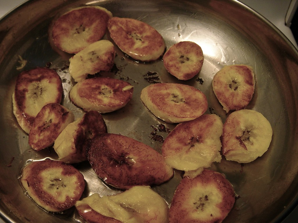 Frying up plantains
