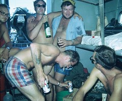 Pabst Blue Ribbon time--Vietnam, 1970 (spysgrandson) Tags: beer boat drinking partying down vietnam seals pabst winding 1970 1970s pabstblueribbon nam