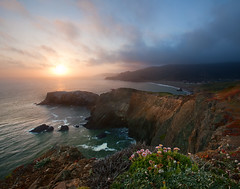 Into the Light (Forget Me Knott Photography) Tags: world ocean california flowers light sunset sea sky cliff sun beach water fog clouds point landscape island golden coast gate san francisco war waves fort marin wwii battery bunker national shore bonita area headlands rodeo recreation cronkhite pprowinner brianknott forgetmeknottphotography fmkphoto