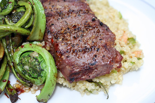 Grilled Elk with Quinoa Salad and Fiddleheads 1