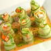 Shrimp and Cucumber Rolls with Sesame Vinaigrette and Cilantro Oil