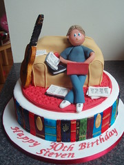 30th Birthday Cake with books laptop and guitar sitting on couch (Murfie68) Tags: cake guitar laptop books 30thbirthday librariancake