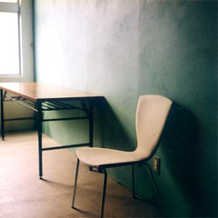 classroom without anyone (minou*) Tags: school green japan wall rollei square chair vert mistake setagaya rolleicord 66