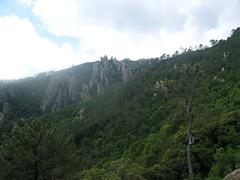 Dans la montée du sentier de l'Osu vers 500/600 m : aiguilles à gauche en RD de l'Osu/Piscia di Ghjaddu