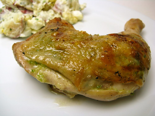 Grilled Garlic Scape Pesto Chicken