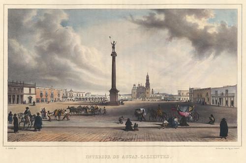 008-Vista de Aguascalientes -Voyage pittoresque et archéologique dans la partie la plus intéressante du Mexique1836-Carl Nebel
