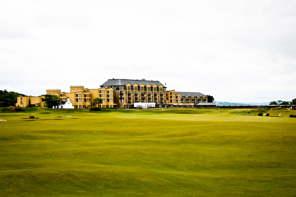 Old Golf Course Hotel at St Andrews Scotland with 1st and 18th Fairways from Club House