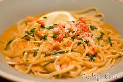 Crayfish Linguine in Bisque Sauce