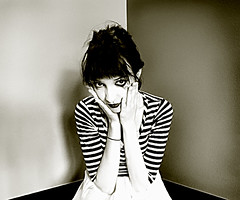 Mime Self Portrait. (Sherri DuPree Bemis) Tags: selfportrait french stripes mime sherri dupree mirrormask ihavetopee nooneputsbabyinacorner dumbgirlmakingdumbface lipstickisgross wizardofozdidnthavemimes circusbobircusallyofircus