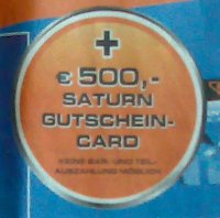 500 Euro Saturn Gutschein-Card