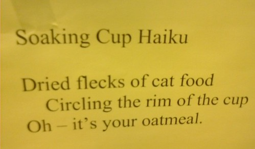 Soaking Cup Haiku  Dried flecks of cat food Circling the rim of the cup Oh - it's your oatmeal.