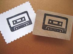 Cassette tape stamp