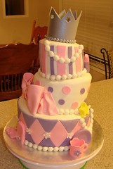 Glamorous Tiara Birthday Cake (Little Sugar Bake Shop) Tags: birthday pink flowers tiara girl highheel girly stripes wand pearls bow littlegirl slipper polkadot puple topsyturvey teacupandsaucer diamondpattern