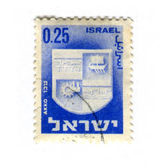 Israel Postage Stamp: Akko (karen horton) Tags: old illustration vintage emblem typography graphicdesign town cities series 1960s hebrew philatelic municipalities photogravure shamirbrothers mgshamir akkobluepostagestamps