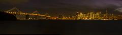 Bay Bridge Panorama (Menetnasht) Tags: sf california leica city bridge panorama color skyline night speed lumix bay san francisco long slow view panoramic panasonic shutter coloring selective fz50