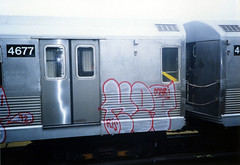 KET, 1992 (KET ONE) Tags: nyc brooklyn train silver subway graffiti throwup ket