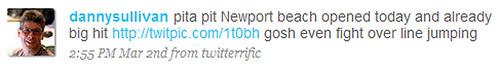 Danny Sullivan tweets on Pita Pit in Newport Beach