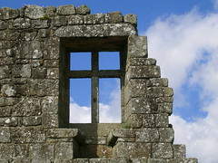 A window to the heaven... (stukinha) Tags: blue sky white detail castle history portugal window monument branco azul stone wall architecture clouds arquitectura europa europe heaven cross decay monumento perspective ruin cu architectural lookingup cruz cielo bancos castelo nuvens janela perspectiva portuguese pedra parede histria pao portuguesa palcio croce minho stuka barcelos runas portugus duques challengeyou challengeyouwinner stukinha thechallengegame challengegamewinner friendlychallenges hccity anacompadre thechallengefactory wowcc