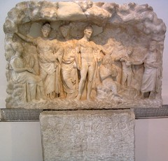 Votive relief and base. (diffendale) Tags: sculpture dedication rock museum greek ancient god athens relief greece national cave pan marble archaeological nymph hermes base picnik votive inscription caduceus attica hellenistic panpipe attiki penteli chlamys pendeli agathemeros 4thcbce 330sbce 320sbce pleiades:findspot=580065