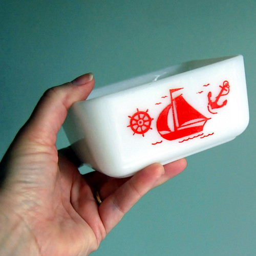 Vintage McKee Red Ships Small Refrigerator Dish