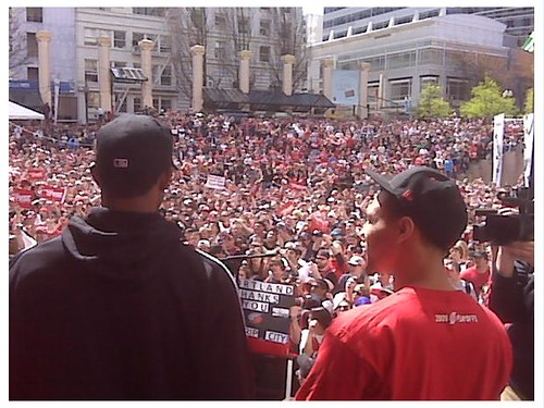 Portland Trail Blazers Rally- Brandon Roy and Lamarcus Aldridge