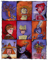 Head Grid (maralina!) Tags: blue red orange woman art girl azul illustration ink watercolor painting advertising rouge grid book promo women head drawing character postcard aquarelle femme dessin bleu diagram editorial dame fille personnage mailer encredechine selfpromo