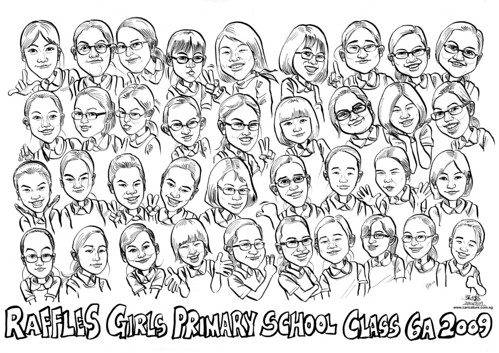 Raffles Girls Primary School Class 6A 2009 caricatures (original) A4