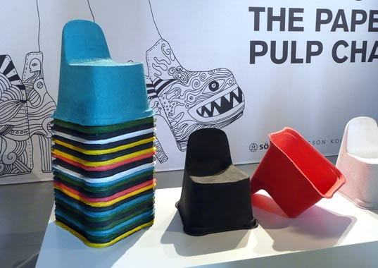 wood conservation, paper pulp chair, paper and plastic furniture, paper and plastic chair, PLA furniture, pulplab, sodra, milan furniture fair, claesson koivisto rune