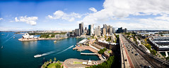 Sydney, NSW Skyline from the Harbour Bridge (IWDRutledge) Tags: road new blue panorama beautiful ferry wales clouds insane amazing view traffic angle stitch pano south wide sydney may sigma nsw april operahouse posts 1020 2009 along sydneyharbourbridge sydneyskyline marriothotel